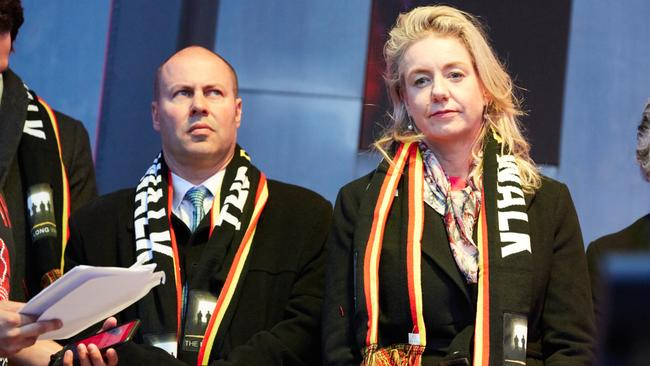 Treasurer Josh Frydenberg and Senator Bridget McKenzie are seen during the annual Long Walk celebrations before the Dreamtime at the 'G clash between Essendon and Richmond in Melbourne. Picture: AAP/Erik Anderson