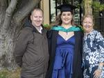 Jordan Wilson, Tara Tanovic and Sue Tanovic at the UTAS Graduation at Launceston. PICTURE CHRIS KIDD