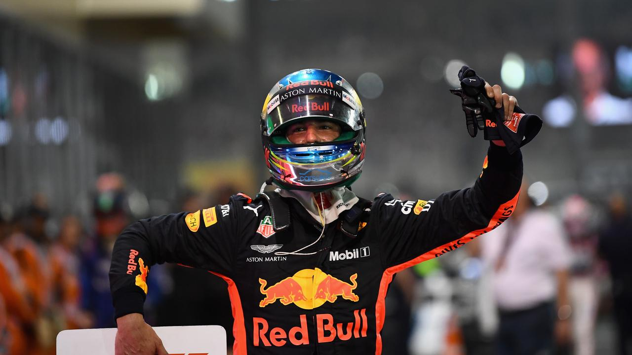 Daniel Ricciardo of Australia and Red Bull Racing waves to the crowd
