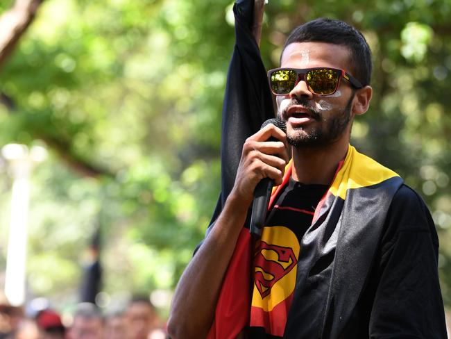 Paul Silva, a relative of David Dungay Jr, speaks at an Invasion Day Rally in Sydney. Picture: Joel Carrett
