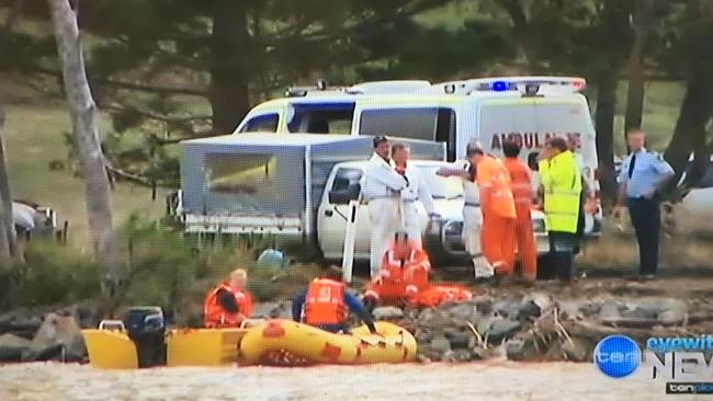 Three people are dead after a car plunged into the Tweed river at Tumbulgum Northern NSW. Picture: Channel 10