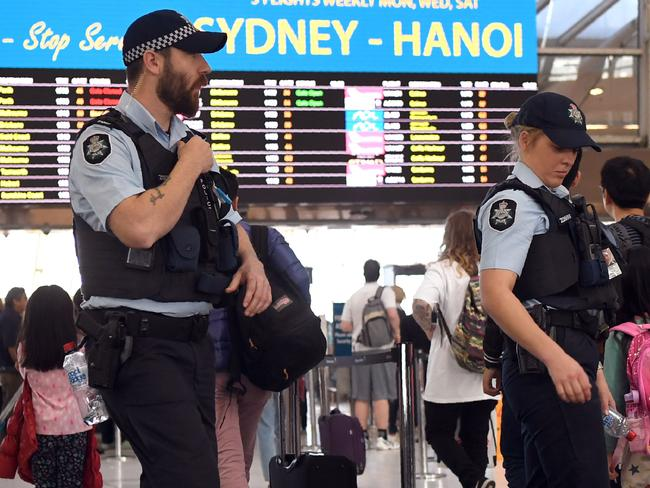 Officers at Sydney Airport on Wednesday. Picture: William West/AFP
