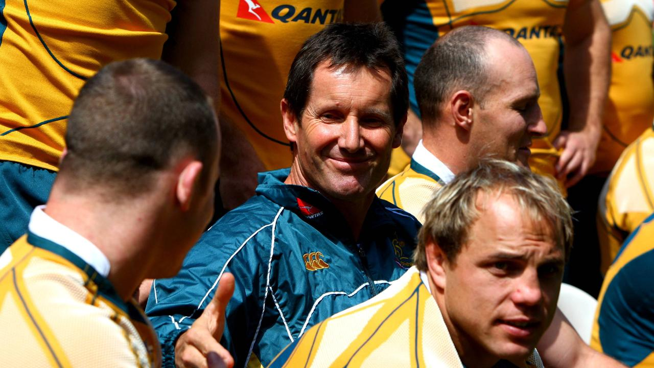 Robbie Deans during a Wallabies captain's run training session at Suncorp Stadium.