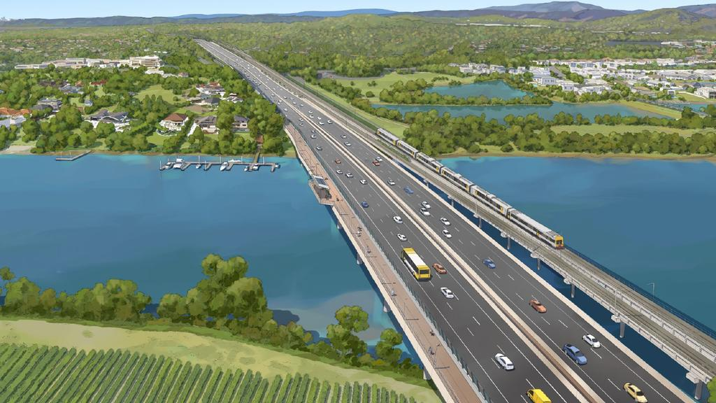 The new road crossing the Coomera River