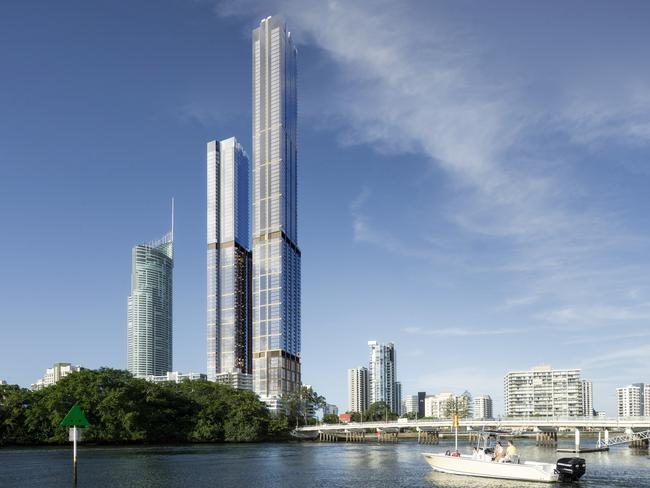 An artist's impression of the proposed twin Orion Towers on the Gold Coast.