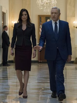 Neve Campbell and Kevin Spacey in Season 5 of House of Cards. Picture: Netflix