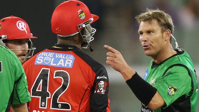 Warne (R) and Samuels have a fair bit of history.