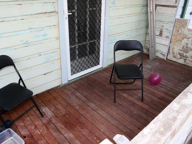 Ben Batterham and his friend had been drinking on the Cleary St veranda (above) and gone inside about 3.20am when Slater broke in. Picture: Peter Clark.