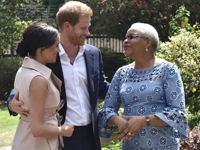Harry and Meghan met with Graca Machel, the widow of the late Nelson Mandela, in Johannesburg, last week. Picture: AP