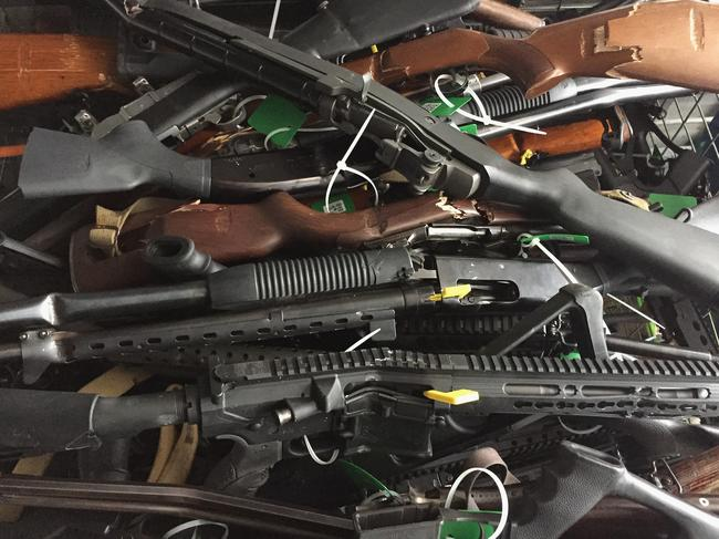More than 200 guns and another 200 parts were bought back in Christchurch yesterday. Picture: New Zealand Police/Getty Images