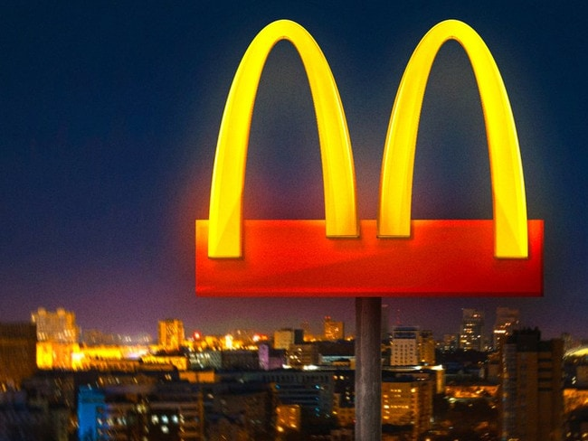 The new McDonald's Brazil logo promotes social distancing. Picture: Supplied