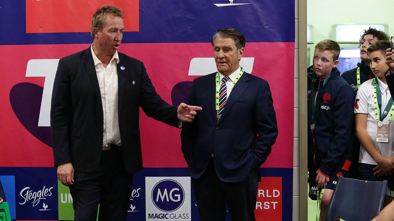 Roosters coach Trent Robinson and club owner Nick Politis
