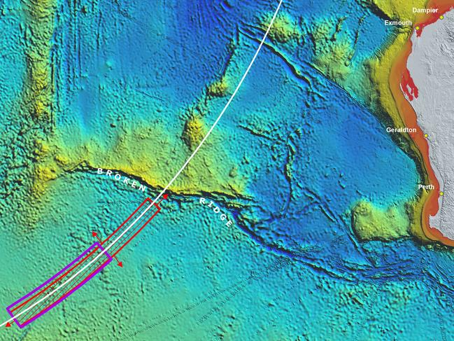 The MH370 search area. Picture: Supplied/ATSB