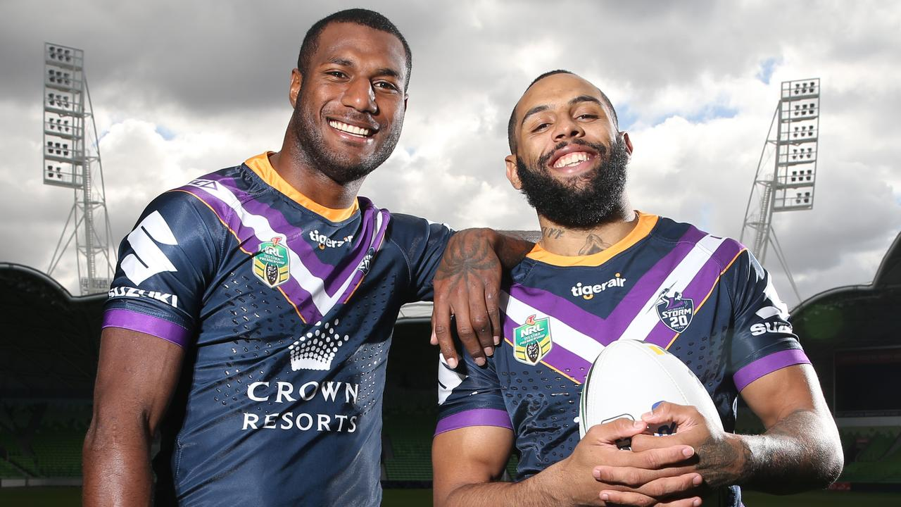 Storm wingers Suliasi Vunivalu and Josh Addo-Carr. Pic: Michael Klein