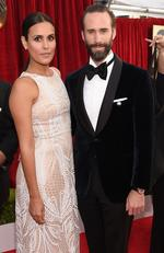 Maria Dolores Dieguez (L) and actor Joseph Fiennes attends the 24th Annual Screen ActorsGuild Awards at The Shrine Auditorium on January 21, 2018 in Los Angeles, California. Picture: Kevork Djansezian/Getty Images