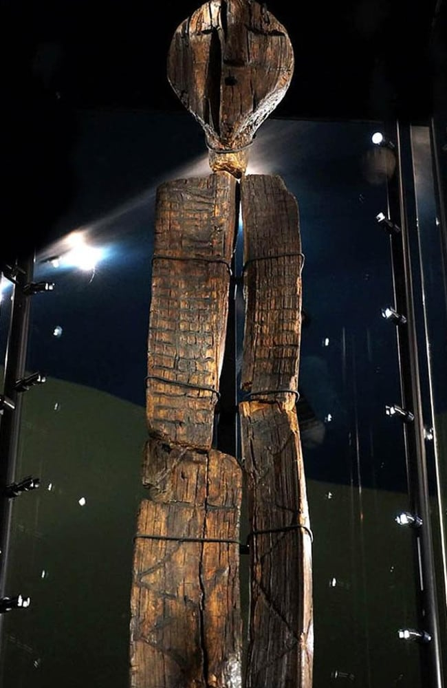 The Shigir Idol, shown in its special enclosure at the Sverdlovsk Regional Museum in Russia.