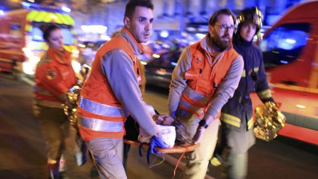 Bloodbath ... An emergency triage was set up down the street in a cafe close to Bataclan Theatre.