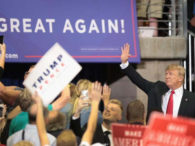 Donald Trump waves to supporters. Picture: Scott Olson/Getty Images/AFP