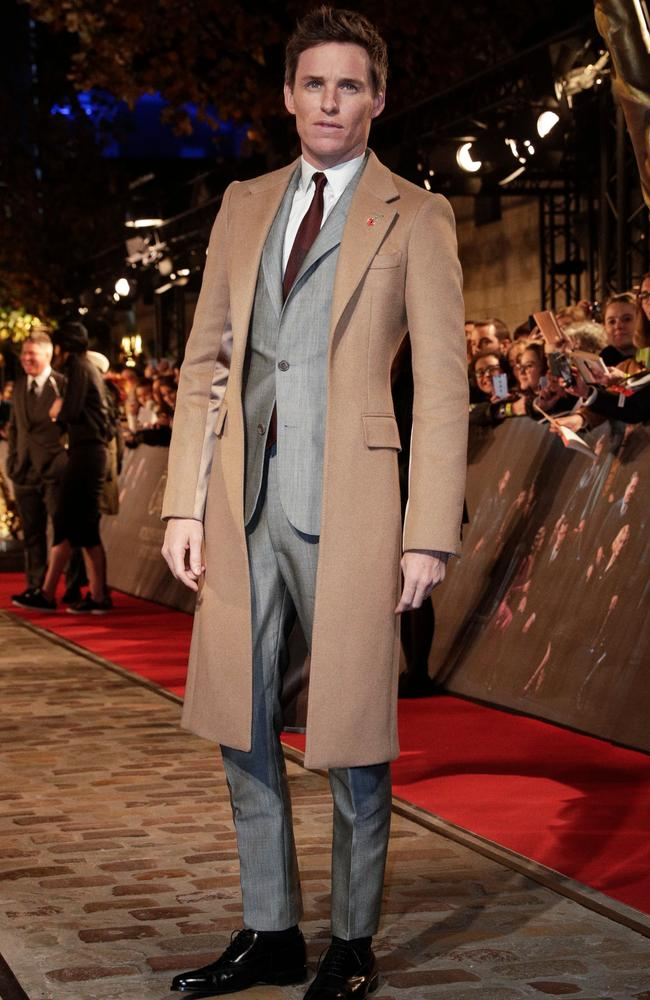 Yes, very dashing Eddie Redmayne, but does this coat even come with its own pump? Picture: AFP