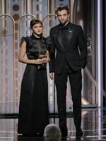 Emma Watson and Robert Pattinson speaks onstage during the 75th Annual Golden Globe Awards at The Beverly Hilton Hotel on January 7, 2018 in Beverly Hills, California. Picture: Getty