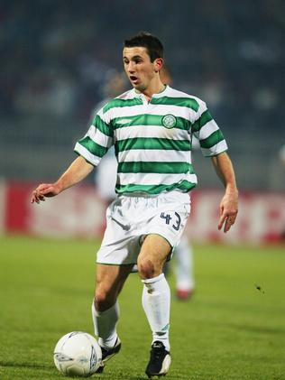 Liam Miller playing for Celtic FC.