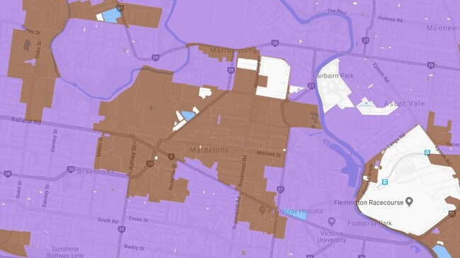 Purple areas show where the NBN is available. The brown areas are yet to connect.