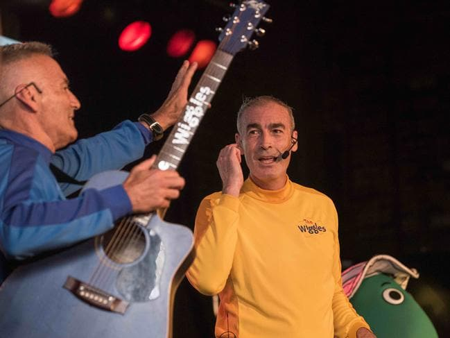 Wiggles' Greg Page and Anthony Field onstage at Castle Hill RSL. Picture: Flavio Brancaleone/Daily Telegraph