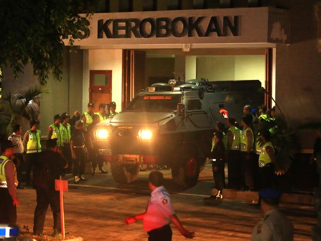 Indonesian police Barracuda drives from Kerobokan Jail with Andrew Chan and Myuran Sukumaran to begin their final journey. Picture: Adam Taylor.
