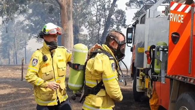 Mr Abbott and his fellow firefighters had to cope with temperatures hitting 45 degrees. Picture: Ingleside RFS