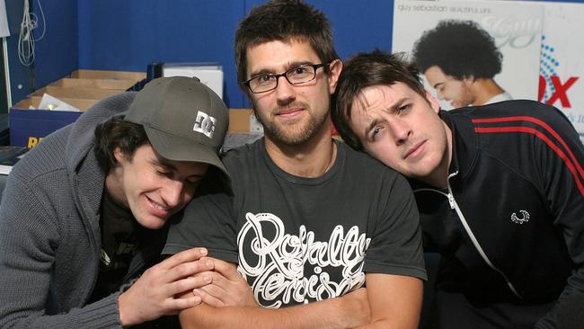 Old school: Hamish and Andy with Sam Cavanagh in 2006.