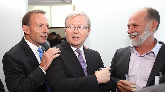 Opposition Leader Tony Abbott surprises Kevin Rudd at Parliament House in Canberra. Picture: Gary Ramage