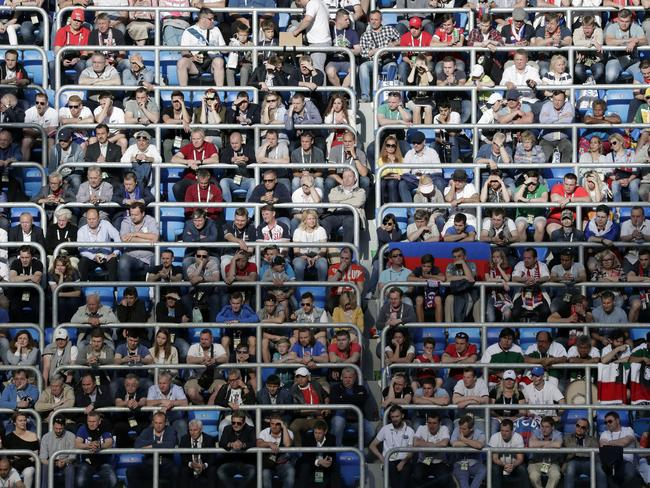 Spectators watch the Confederations, Cup Group A game at St.Petersburg stadium.