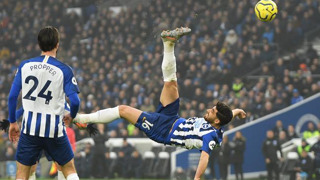 Alireza Jahanbakhsh's spectacular overhead kick ensures Brighton grab a point.