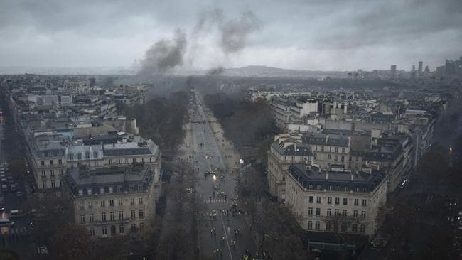 Avenues leading to the Arc de Triomphe are pictured from the top of the Arc de Triomphe on the Champs-Elysees avenue during a demonstration. Picture: AP