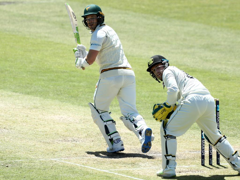 Tim Paine was dismissed for 121. Picture: Gary Day