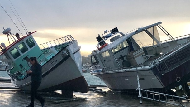 Fishing boats in dry dock were blown over by high winds at the Robe Marina, Strathalbyn, SA. Picture: Andrew Lawrie.