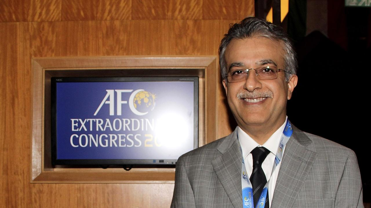 Sheikh Salman Bin Ebrahim Al Khalifa of Bahrain poses after he was elected as AFC president