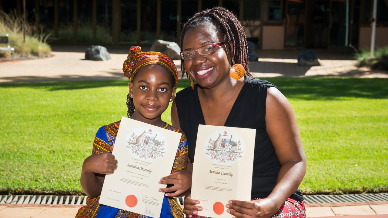 Kundai Muzanenhamo and Consolata Matione became Australian citizens on Australia Day this year. The government would like to introduce English testing at the residency stage of this process. Picture: Emma Murray