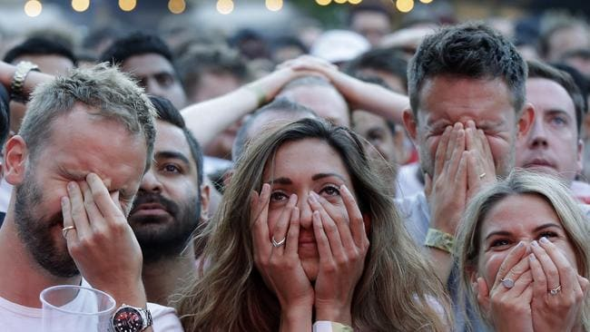 England's demise was hard to watch for some. Picture: Getty. - World Cup 2018; England Fans In Tears; England Lose To Croatia In Semifinal; France V Croatia World Cup Final