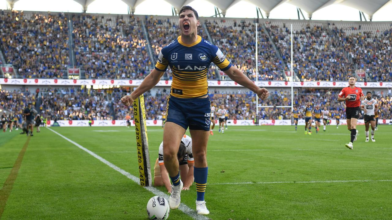 Mitchell Moses after scoring the first try at Bankwest Stadium.
