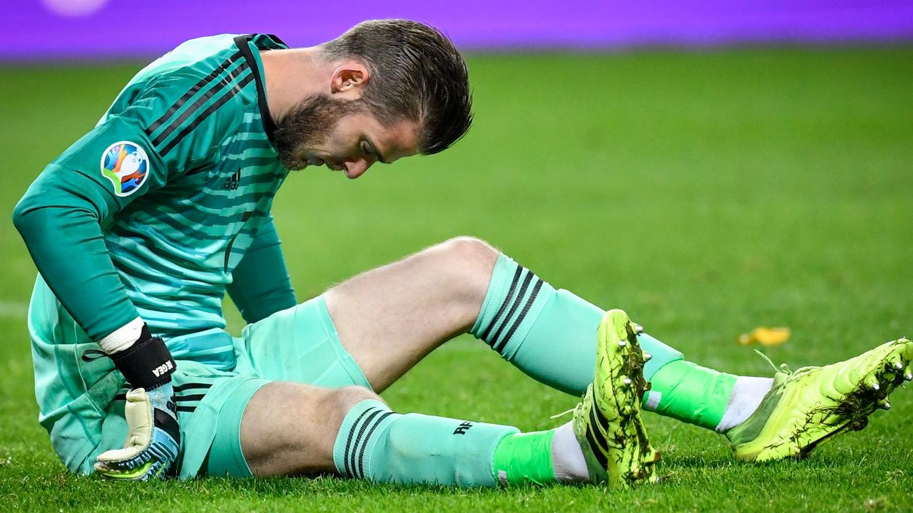 David De Gea limped off with a groin injury.