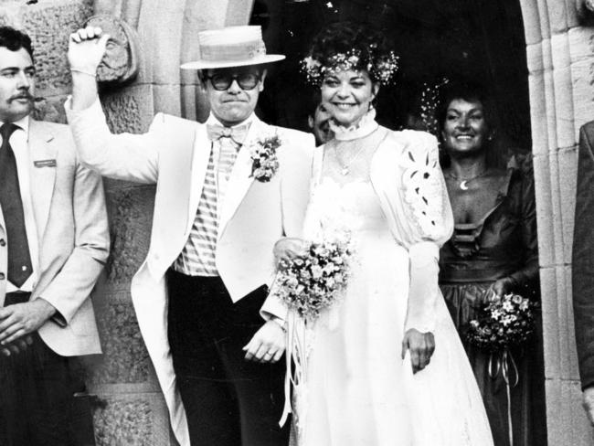Elton John during his wedding ceremony to Renate Blauel at a church in Sydney on 14/02/1984. Picture: Supplied
