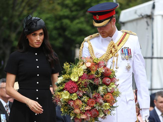 Prince Harry, Duke of Sussex and Meghan, Duchess of Sussex laid a wreath at the ANZAC Memorial with a touching handwritten note. Picture: Ian Vogler/Getty Images