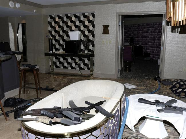 The interior of Stephen Paddock's 32nd floor room of the Mandalay Bay hotel. Picture: Las Vegas Metropolitan Police Department via AP