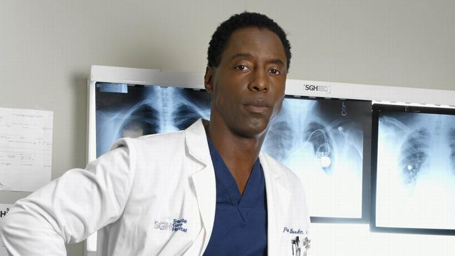 Isaiah Washington as Dr Preston Burke on the set of Grey's Anatomy.