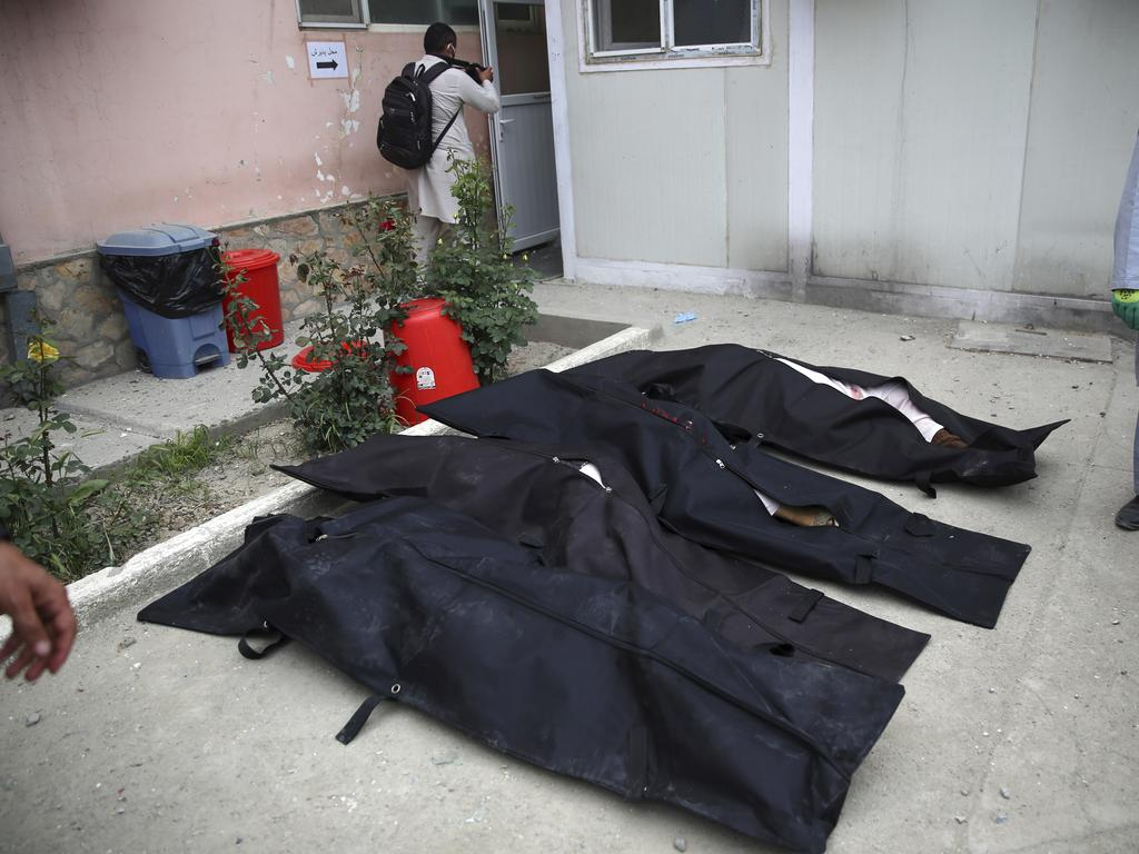Bodies of people killed in the attack lie on the ground in a maternity hospital in Kabul. Image: AP