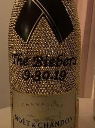 The Biebers' fancy champagne bottle. Picture: Instagram