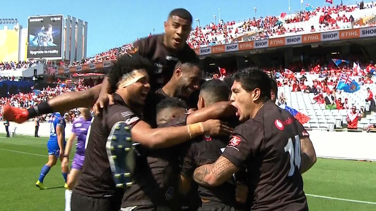Fiji celebrate a try against Samoa.