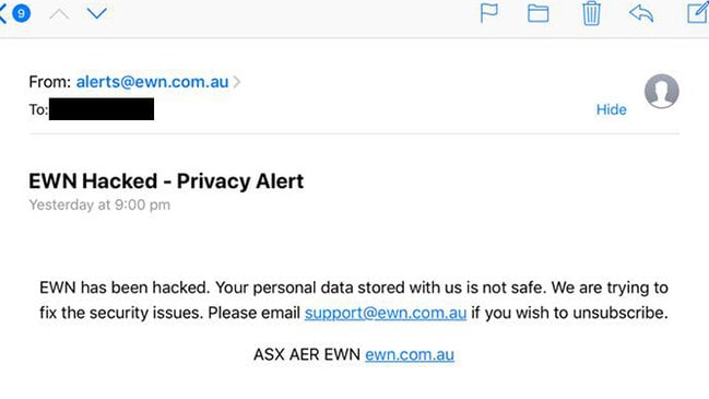 The EWN was overtaken by a hacker and sent out false warnings to Australians.