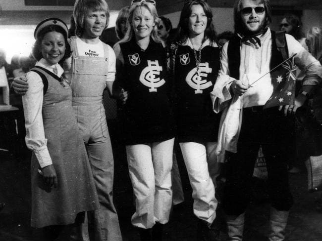 ABBA on tour in Australia in 1977. Sorry about the jumpers. Picture: Supplied